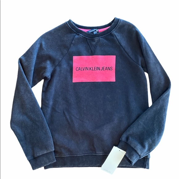Calvin Klein jeans youth faded logo sweater New p9